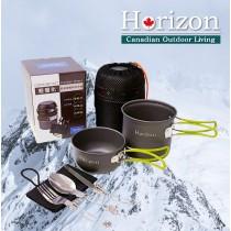 Horizon 天際線 輕量化野營鍋餐具五件組(春芽綠/晨曦橘)